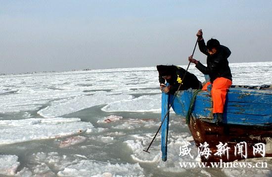 山东威海市近海养殖户积极开展抗冰自救