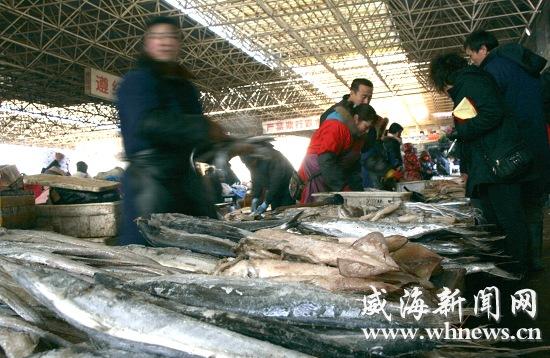 山东威海海鲜市场冻品多