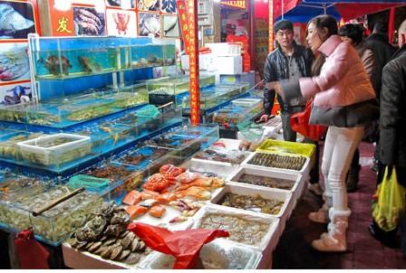 一月份全市水产批发市场的水产品交易量