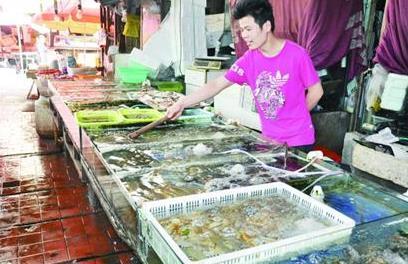 山东青岛市休渔期养殖海鲜成市场主角 鱼虾大量上市身价低