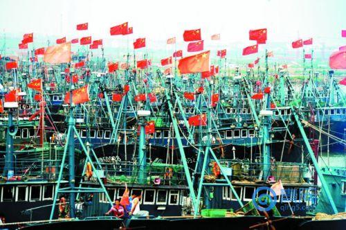 在青岛西海岸新区顾家岛码头,渔民老刘和伙计们手中的家伙什叮叮当当