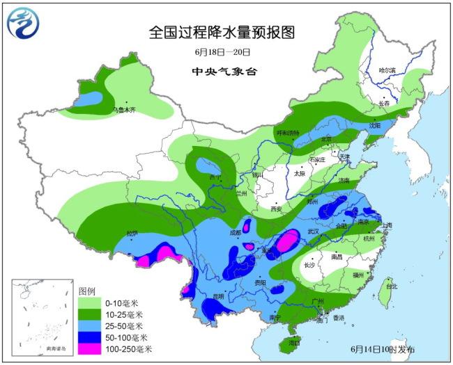 6月14日未来十天全国天气预报 18日起主雨带明显北抬