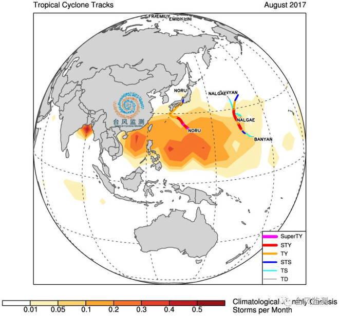 ↑ 2017年8月份西北太平洋台风路径(虽然奥鹿于7月下旬生成,但此处