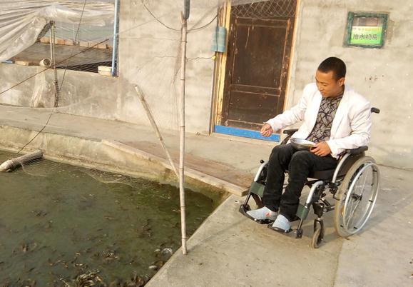 身残志坚 四川广汉小伙轮椅上开辟水产养殖致富