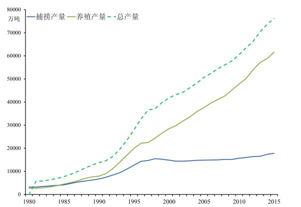 图1&nbsp&nbsp1980-2016年中国水产品总产量、捕捞产量及养殖产量 进入21世纪后,中国水产养殖的成功对世界造成了重要影响。水产养殖对世界水产品供应的作用已在发达国家学者中达成共识,鱼类等水产品作为较为安全的蛋白来源已得到国际社会的广泛认同[3][4]。水产养殖作为可以减少谷物以换取优质动物蛋白最有效率的技术,已被世界知名经济学家Lester&nbspR.