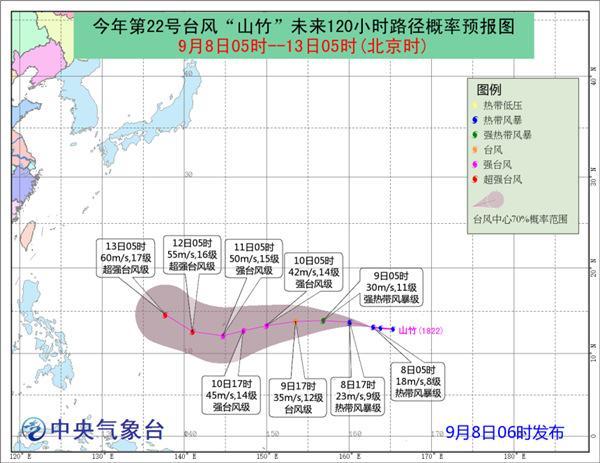 """第22号台风""""山竹""""向偏西方向移动未来五天对我"""